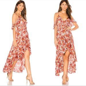 Bardot Frankie frill dress Azure floral magnolia